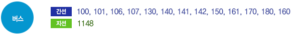 버스 간선(100, 101, 106, 107, 130, 140, 141, 142, 150, 161, 170, 180, 160)지선(1148)